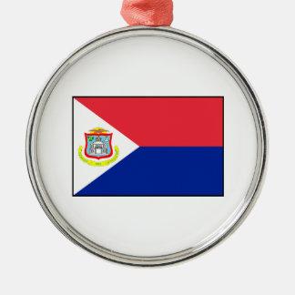 Bandera de Sint Maarten Adorno Navideño Redondo De Metal