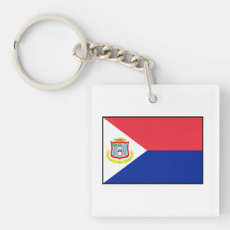 Bandera de Sint Maarten Llavero Cuadrado Acrílico A Doble Cara