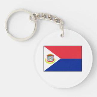Bandera de Sint Maarten Llavero Redondo Acrílico A Doble Cara