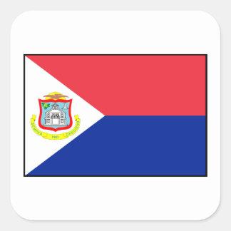Bandera de Sint Maarten Pegatina Cuadrada