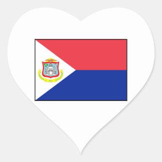 Bandera de Sint Maarten Pegatina En Forma De Corazón
