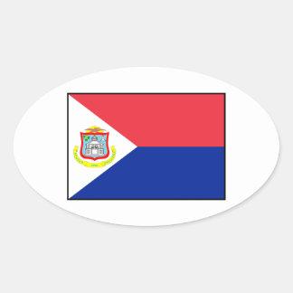Bandera de Sint Maarten Pegatina Ovalada