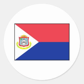 Bandera de Sint Maarten Pegatina Redonda
