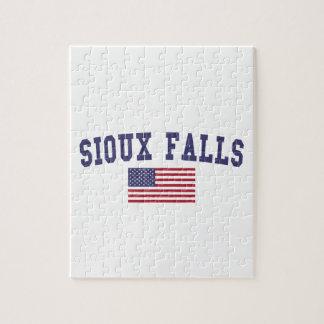Bandera de Sioux Falls los E.E.U.U. Puzzle Con Fotos