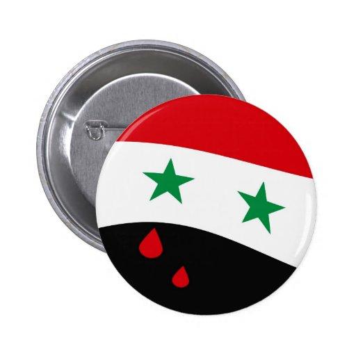 Bandera de Siria que agita con los rasgones rojos  Pin