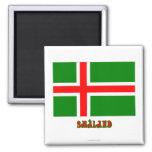Bandera de Småland con el nombre (oficioso) Imanes De Nevera