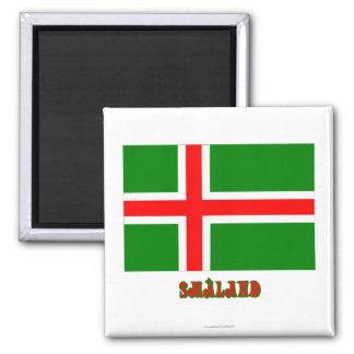 Bandera de Småland con el nombre (oficioso) Imán Cuadrado