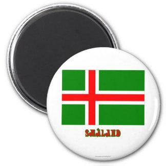 Bandera de Småland con el nombre (oficioso) Imán De Nevera
