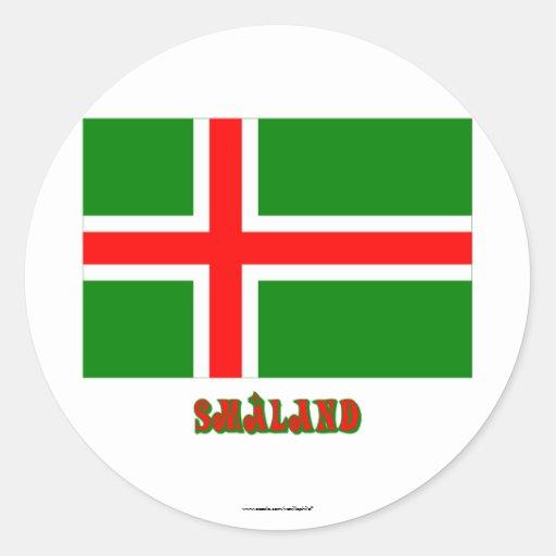 Bandera de Småland con el nombre (oficioso) Pegatina Redonda