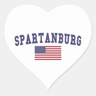 Bandera de Spartanburg los E.E.U.U. Pegatina En Forma De Corazón