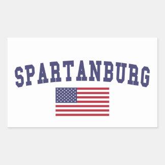 Bandera de Spartanburg los E.E.U.U. Pegatina Rectangular
