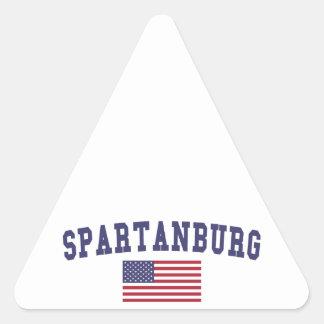 Bandera de Spartanburg los E.E.U.U. Pegatina Triangular