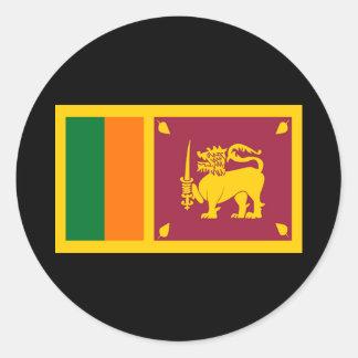 Bandera de Sri Lanka Etiqueta Redonda