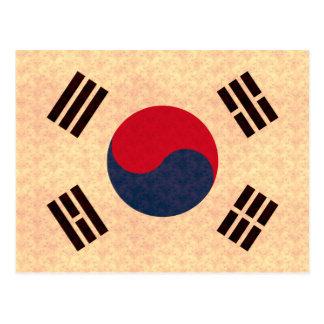 Bandera de sudcoreano del modelo del vintage tarjeta postal