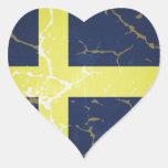 Bandera de Suecia Calcomanías De Corazones