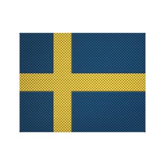 Bandera de Suecia con efecto de la fibra de carbon Impresion En Lona