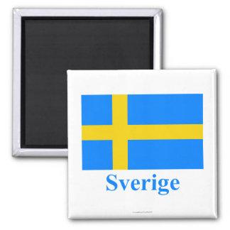 Bandera de Suecia con nombre en sueco Imán Cuadrado