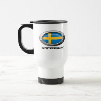 Bandera de Suecia en el marco de acero Taza De Café