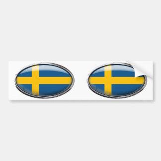 Bandera de Suecia en el óvalo de cristal Pegatina De Parachoque