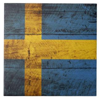Bandera de Suecia en grano de madera viejo Azulejo Cuadrado Grande