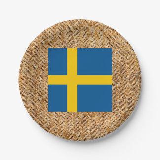 Bandera de Suecia en la materia textil temática Plato De Papel De 7 Pulgadas
