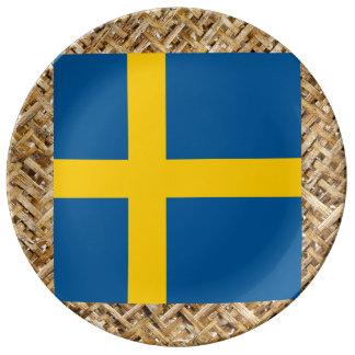 Bandera de Suecia en la materia textil temática Platos De Cerámica