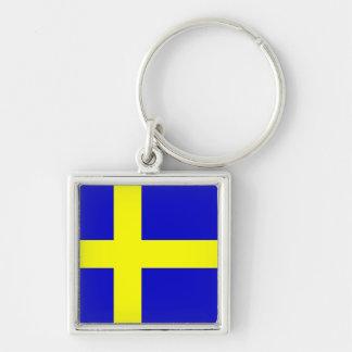 Bandera de Suecia Llavero Cuadrado Plateado