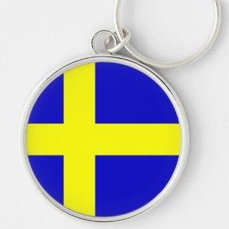 Bandera de Suecia Llavero Redondo Plateado