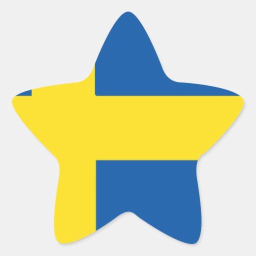 Bandera de Suecia Calcomanias Forma De Estrella