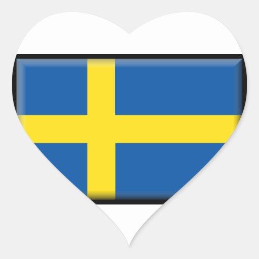Bandera de Suecia Calcomania Corazon