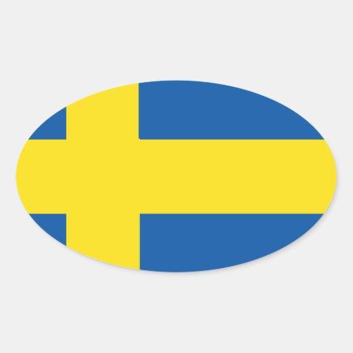 Bandera de Suecia Pegatinas De Oval Personalizadas