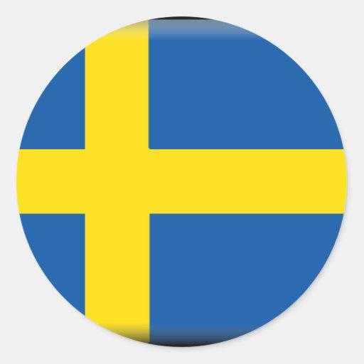 Bandera de Suecia Pegatinas Redondas