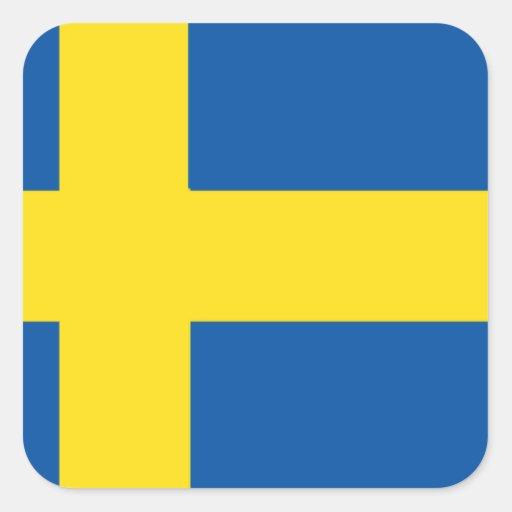 Bandera de Suecia Calcomania Cuadradas