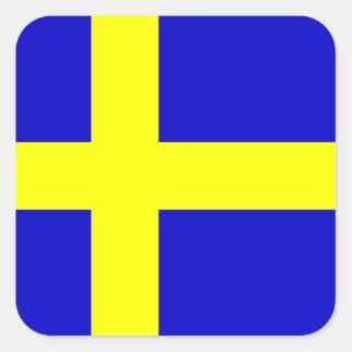 Bandera de Suecia Pegatina Cuadrada