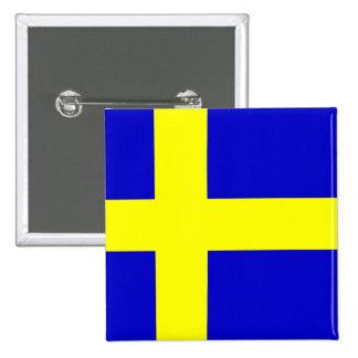Bandera de Suecia Pin Cuadrado