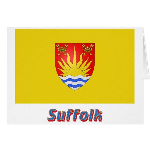 Bandera de Suffolk con nombre Tarjeta De Felicitación