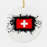 Bandera de Suiza Adornos De Navidad