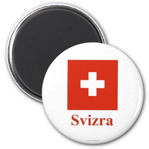 Bandera de Suiza con nombre en Raeto-Romance Imán De Frigorifico