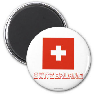 Bandera de Suiza con nombre Imán Redondo 5 Cm