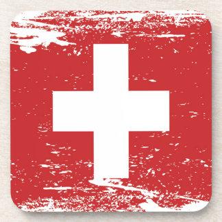 Bandera de Suiza del Grunge Posavasos De Bebida