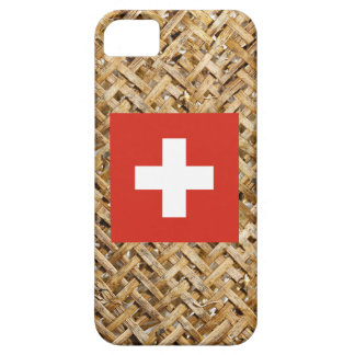 Bandera de Suiza en la materia textil temática iPhone 5 Fundas