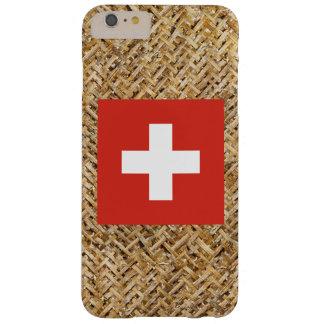 Bandera de Suiza en la materia textil temática Funda De iPhone 6 Plus Barely There