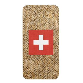 Bandera de Suiza en la materia textil temática Funda Para iPhone 5