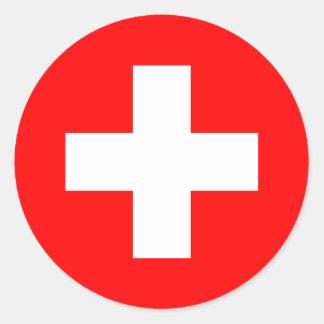 Bandera de Suiza Etiquetas Redondas
