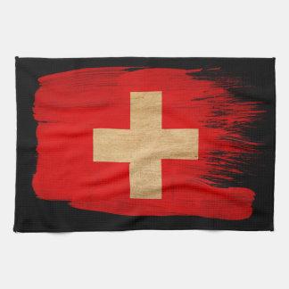 Bandera de Suiza Toalla De Cocina