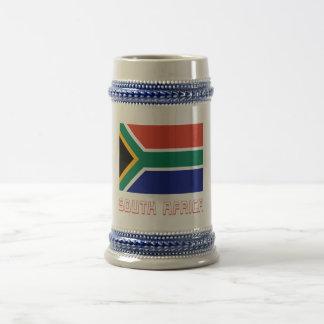 Bandera de Suráfrica con nombre Jarra De Cerveza