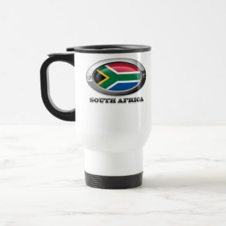 Bandera de Suráfrica en el marco de acero Taza De Café