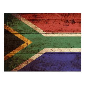 Bandera de Suráfrica en grano de madera viejo Tarjetas Postales