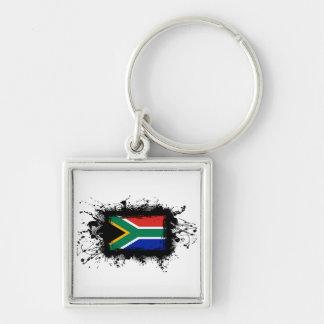 Bandera de Suráfrica Llavero Cuadrado Plateado