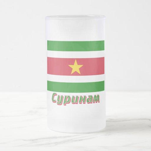 Bandera de Suriname con nombre en ruso Taza Cristal Mate